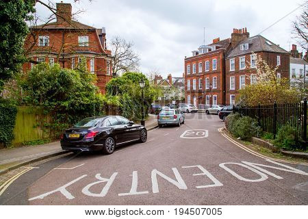 UK, London - 08 April 2015: Row of typical English terraced houses in Hampstead, London