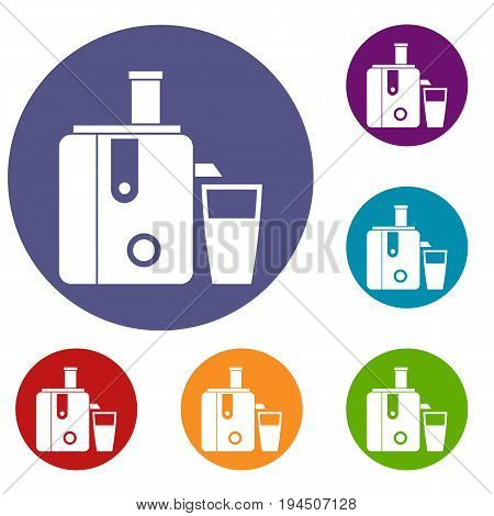 Juicer icons set in flat circle reb, blue and green color for web