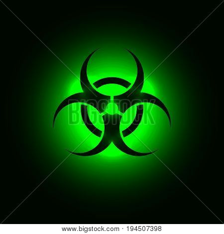 Biohazard symbol on green glowing background. Vector illustration