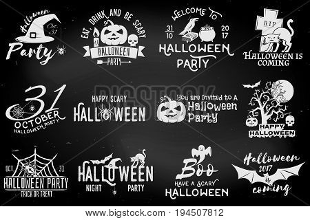 Set of Halloween party concept on the chalkboard. Halloween party retro templates, badges, seals, patches. Concept for shirt or logo, print, stamp. Typography design- stock vector.