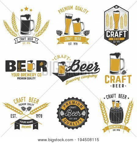 Set of Craft Beer badges. Vector illustration. Vintage design for bar, pub and restaurant business. Coaster for beer.