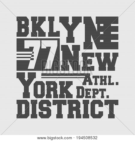 T-shirt print design. Brooklyn New York vintage t shirt stamp. Badge applique, label t-shirts, jeans, casual wear. Vector illustration.