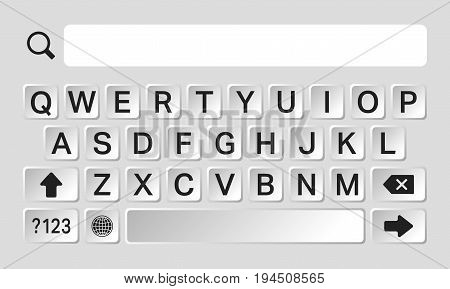 Smartphone keyboard with alphabet buttons and various symbols. Vector illustration.