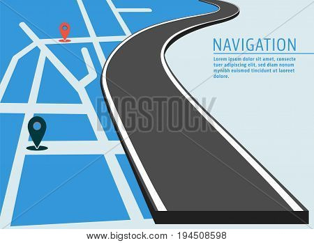 Map location banner. Navigation with pin pointer and road designed for cover brochure or flyer. Vector illustration.