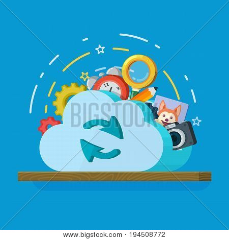 Cloud computing services banner in flat style. Networking communication and data icons. Data provision and cloud computing services. Data protection, online cloud storage, security, privacy. Bitmap