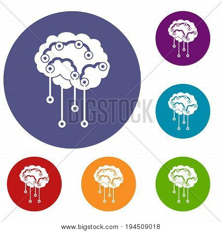 Sensors on human brain icons set in flat circle reb, blue and green color for web