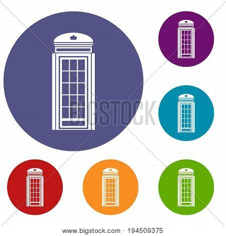 Phone booth icons set in flat circle reb, blue and green color for web