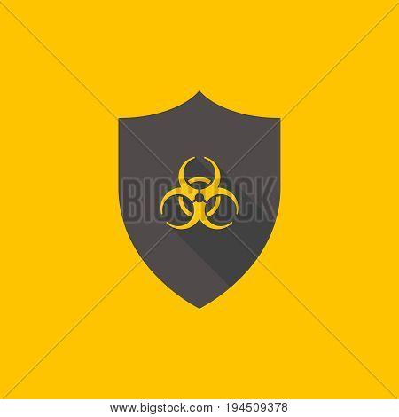 Vector shield with biohazard symbol. Virus protection icon
