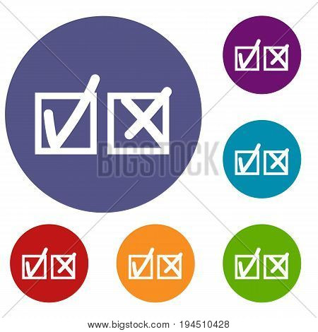 Checkmark to accept and refusal icons set in flat circle reb, blue and green color for web