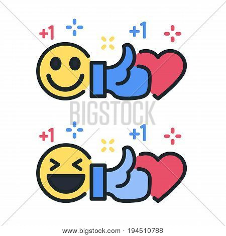 Smile, thumb up and heart. Bitmap colored lines icons. Template for the holiday, sales and discounts. Social networks and social media template. Emoji raster image