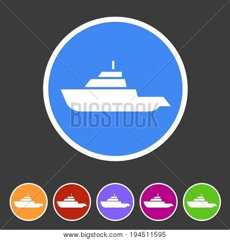 Expedition boat yacht icon flat web sign symbol logo label set