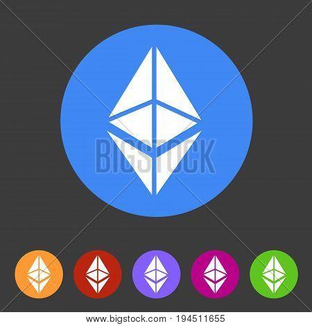 Ethereum cryptocurrency icon flat web sign symbol logo label set