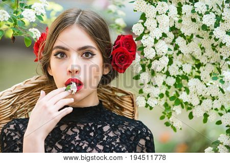 Beauty Or Surprised Girl With White Flower In Hand