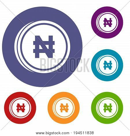 Coin naira icons set in flat circle reb, blue and green color for web