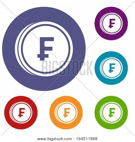 Franc coins icons set in flat circle reb, blue and green color for web
