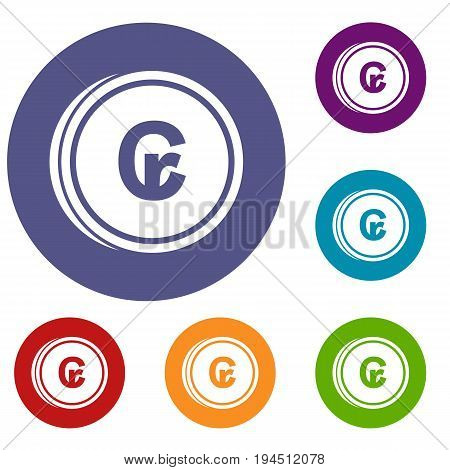 Coins cruzeiro icons set in flat circle reb, blue and green color for web