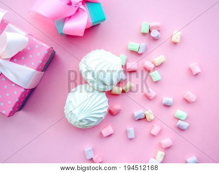 Marshmallow In White Plate On Pink Background