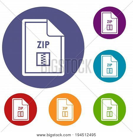File ZIP icons set in flat circle reb, blue and green color for web