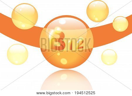 Vitamin B12 shining pill capcule icon . Vitamin complex with Chemical formula, group B, Cyanocobalamin, hydroxocobalamin. Vector illustration