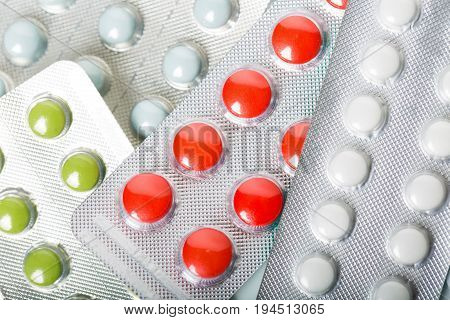 Assorted Pharmaceutical Medicine Pills, Multicolored Tablets And Capsules