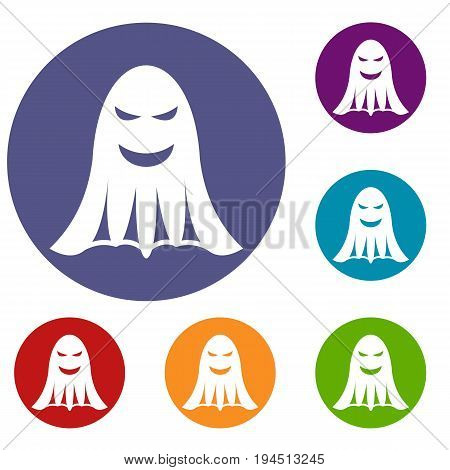 Ghost icons set in flat circle reb, blue and green color for web