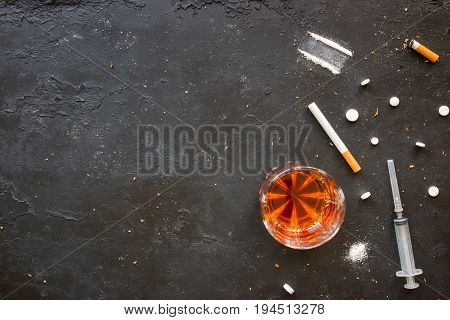 Bad Habits - Alcohol, Smoking, Drugs On A Black Background With Space For Text