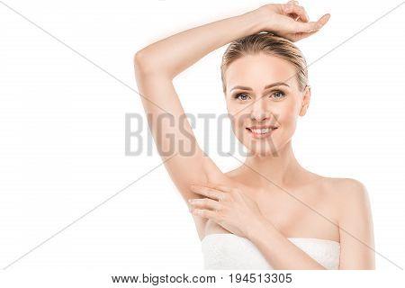 Mature female beauty health care studiio portrait epilation