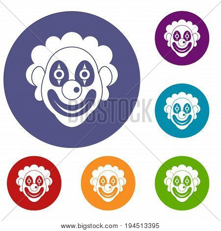 Clown icons set in flat circle reb, blue and green color for web