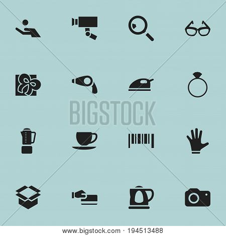 Set Of 16 Editable Trade Icons. Includes Symbols Such As Photographing, Teapot, Striped And More. Can Be Used For Web, Mobile, UI And Infographic Design.