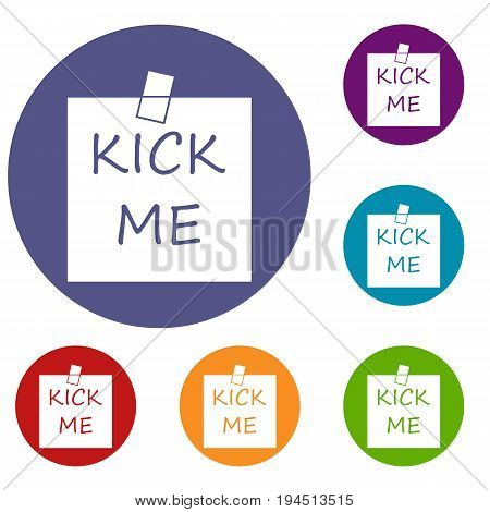 Inscription kick me icons set in flat circle reb, blue and green color for web
