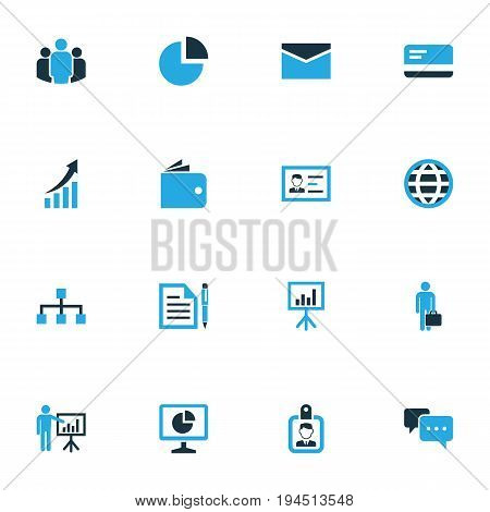 Trade Colorful Icons Set. Collection Of Presentation, Globe, Pie Chart And Other Elements. Also Includes Symbols Such As Hierarchy, Chart, Bank.