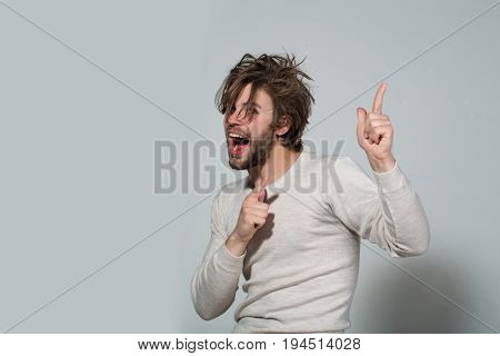 Happy Man With Long Uncombed Hair Wake Up In Morning