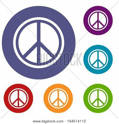 Sign hippie peace icons set in flat circle reb, blue and green color for web