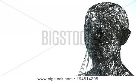 Face portrait. 3D wireframe head with space for text in the left