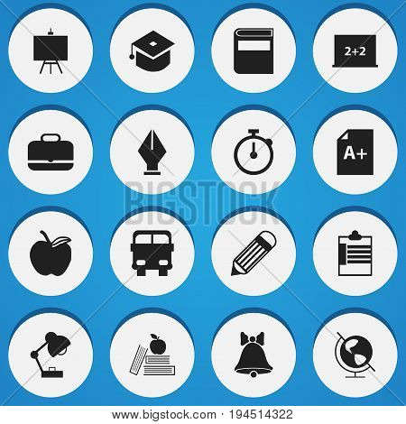 Set Of 16 Editable Knowledge Icons. Includes Symbols Such As Apple , Lighting, Painter's Stand. Can Be Used For Web, Mobile, UI And Infographic Design.