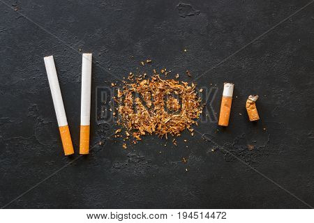 Tobacco With The Inscription No, Cigarettes, Cigarette Butts - Stop Smoking