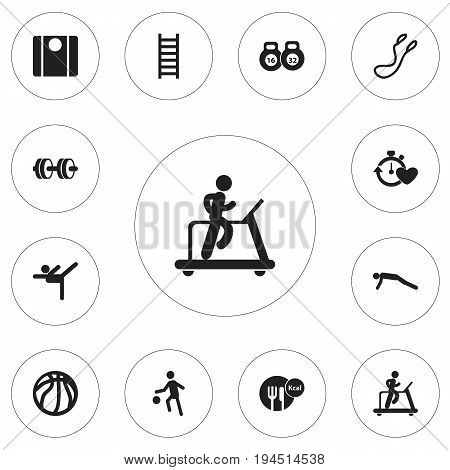 Set Of 12 Editable Fitness Icons. Includes Symbols Such As Weightlifting, Jump Training, Balance And More. Can Be Used For Web, Mobile, UI And Infographic Design.
