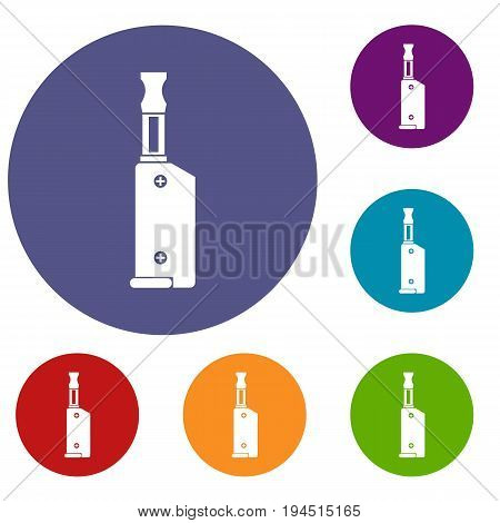 Electronic cigarette with mouthpiece icons set in flat circle reb, blue and green color for web