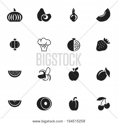 Set Of 16 Editable Fruits Icons. Includes Symbols Such As Sativum, Lemon, Papaya And More. Can Be Used For Web, Mobile, UI And Infographic Design.