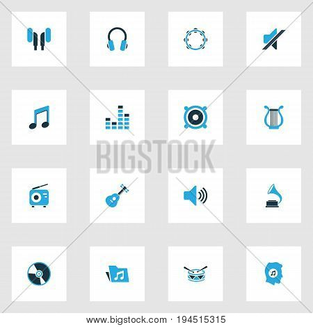 Audio Colorful Icons Set. Collection Of Drum, Note, Headphone And Other Elements. Also Includes Symbols Such As Headset, Percussion, Radio.