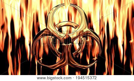 bio-hazard symbol in fire and flames back ground