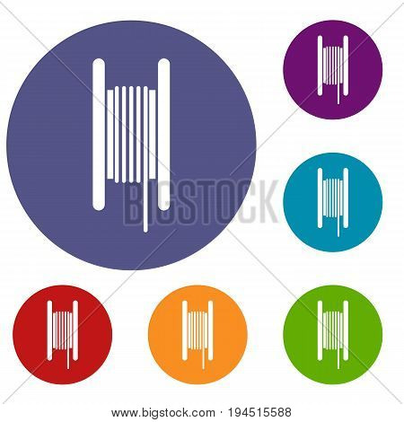 Electric cable in coil icons set in flat circle reb, blue and green color for web