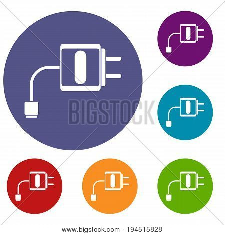 Mini charger icons set in flat circle reb, blue and green color for web