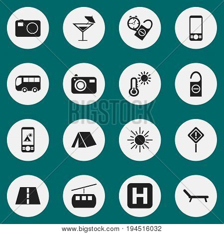 Set Of 16 Editable Holiday Icons. Includes Symbols Such As Thermometer, Cableway, Sunbathing And More. Can Be Used For Web, Mobile, UI And Infographic Design.