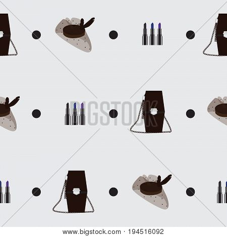 Seamless pattern with goth accessories on grey background. Subculture creative design in dark colors. Pattern based on black hat with veil extreme colored lipstick and coffin shaped handbag.