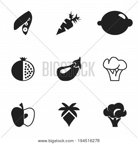 Set Of 9 Editable Berry Icons. Includes Symbols Such As Apple, Aubergine, Tree And More. Can Be Used For Web, Mobile, UI And Infographic Design.