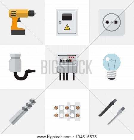 Set Of 9 Editable Instruments Icons. Includes Symbols Such As Auger, Screwdriver, Fretsaw And More. Can Be Used For Web, Mobile, UI And Infographic Design.