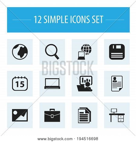 Set Of 12 Editable Bureau Icons. Includes Symbols Such As Loupe, World, Monitor And More. Can Be Used For Web, Mobile, UI And Infographic Design.