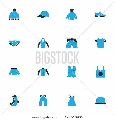 Garment Colorful Icons Set. Collection Of Cap, Beanie, Underwear And Other Elements. Also Includes Symbols Such As Panties, Wear, Pompom.