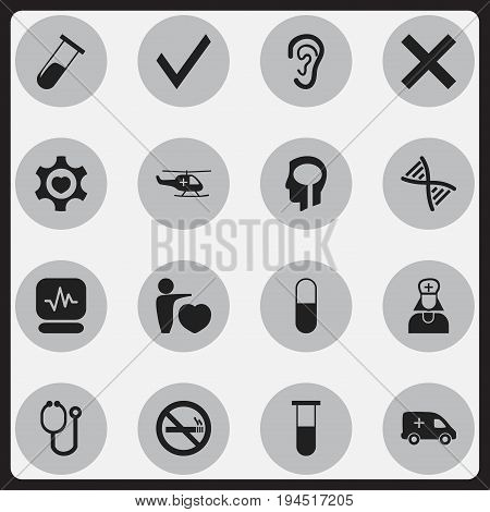 Set Of 16 Editable Care Icons. Includes Symbols Such As Hospital Assistant, Mark, Test Tube And More. Can Be Used For Web, Mobile, UI And Infographic Design.